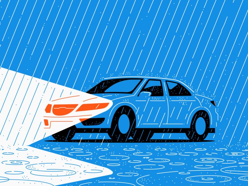 Driving In The Rain Rain Illustration Root Insurance Rain