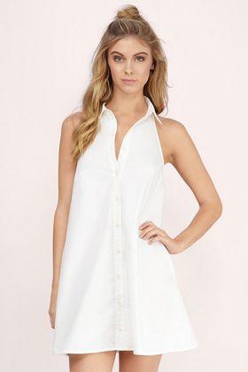Dresses, Tobi, Ivory Top Collar Halter Dress