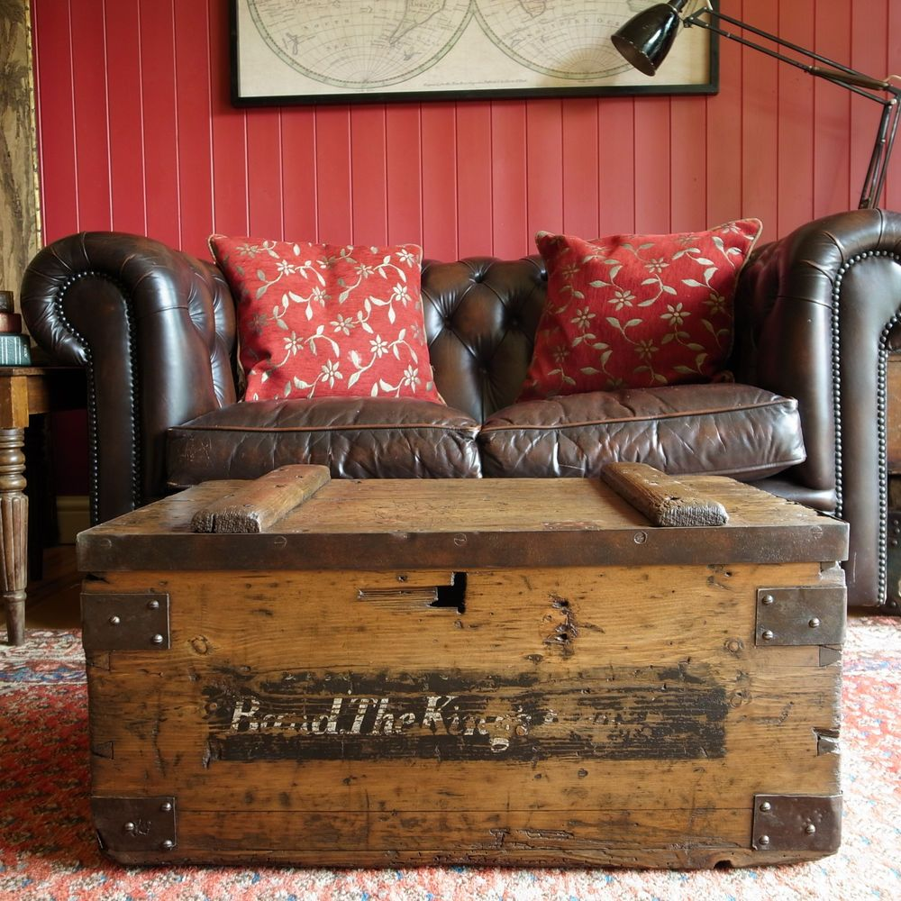 Antique Military Chest Storage Trunk Table Vintage Wwi Footlocker Old Rustic Box