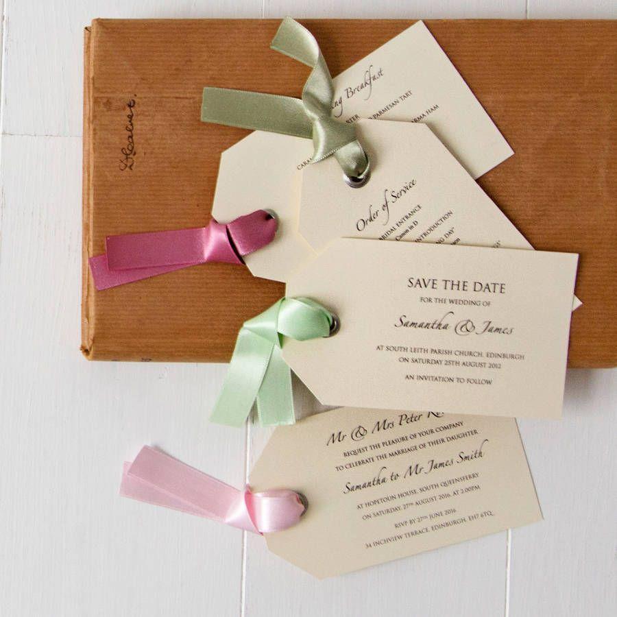 Luggage Tag Wedding Invitation | Ribbon colors and Weddings