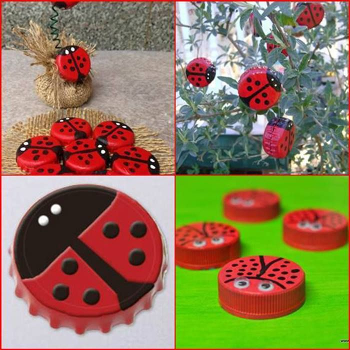 How to make beautiful decorative ladybugs with bottle caps for How to make bottle cap crafts