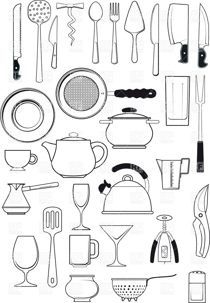 Tableware - kitchen utensils silhouettes, download royalty ...