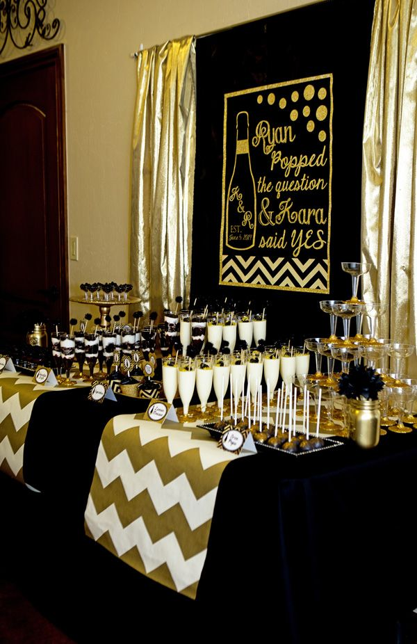 Black And Gold Bridal Shower He Popped The Question Bridal Shower Champagne Champagne Party Black Gold Party