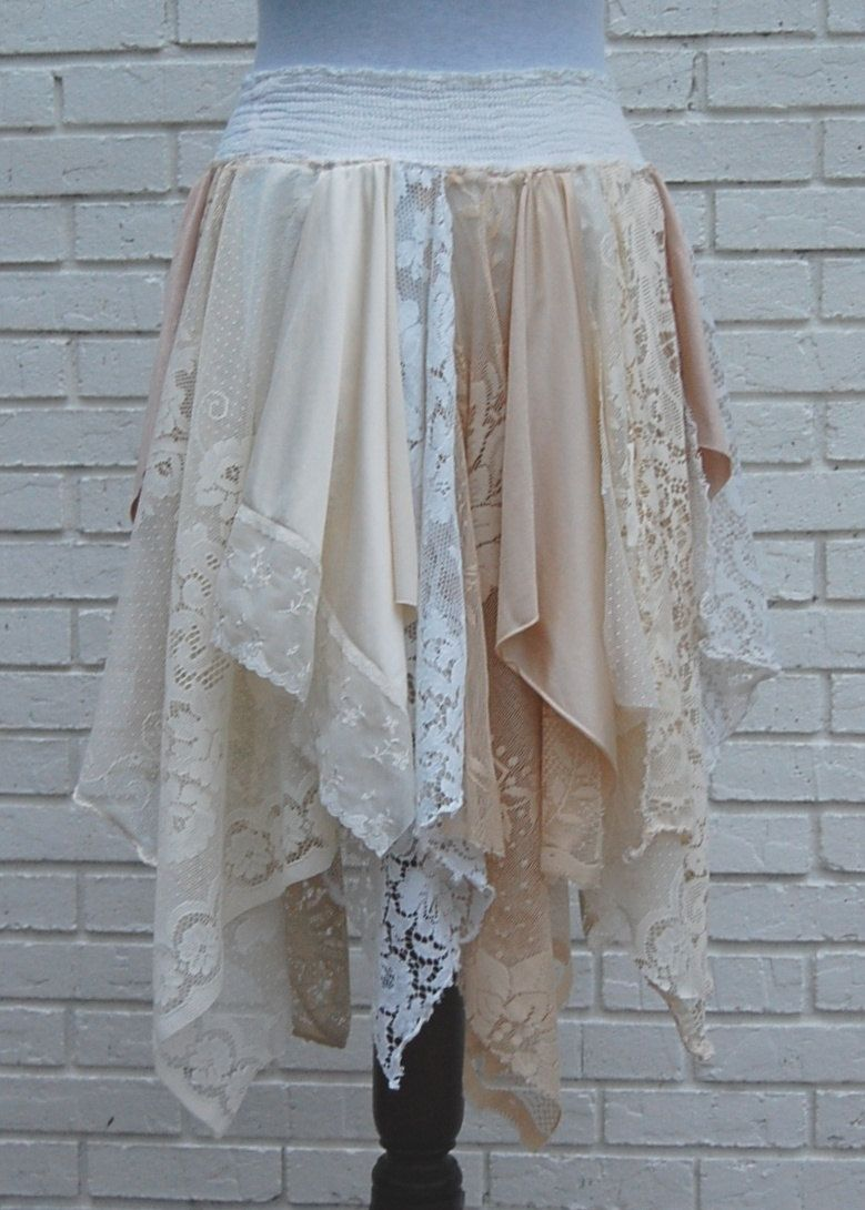 Diy Upcycled Clothing Xl Tattered Lace Fairy Woodland Skirt White And Cream Hippie