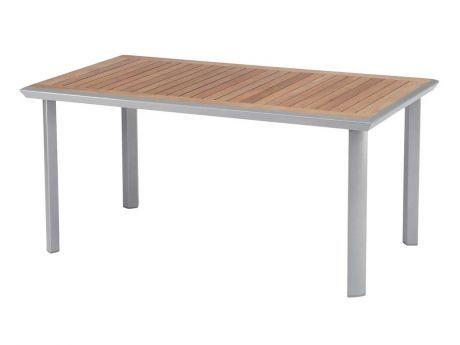 Stern Gartentisch Top Aluminium Graphit Teakplatte 160x92 Cm