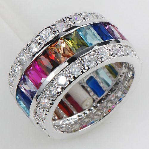 Morganite Blue Topaz Garnet Amethyst Ruby Pink Kunzite Aquamarine 925 Sterling Silver Ring Size M 0w7GRm8Dmr