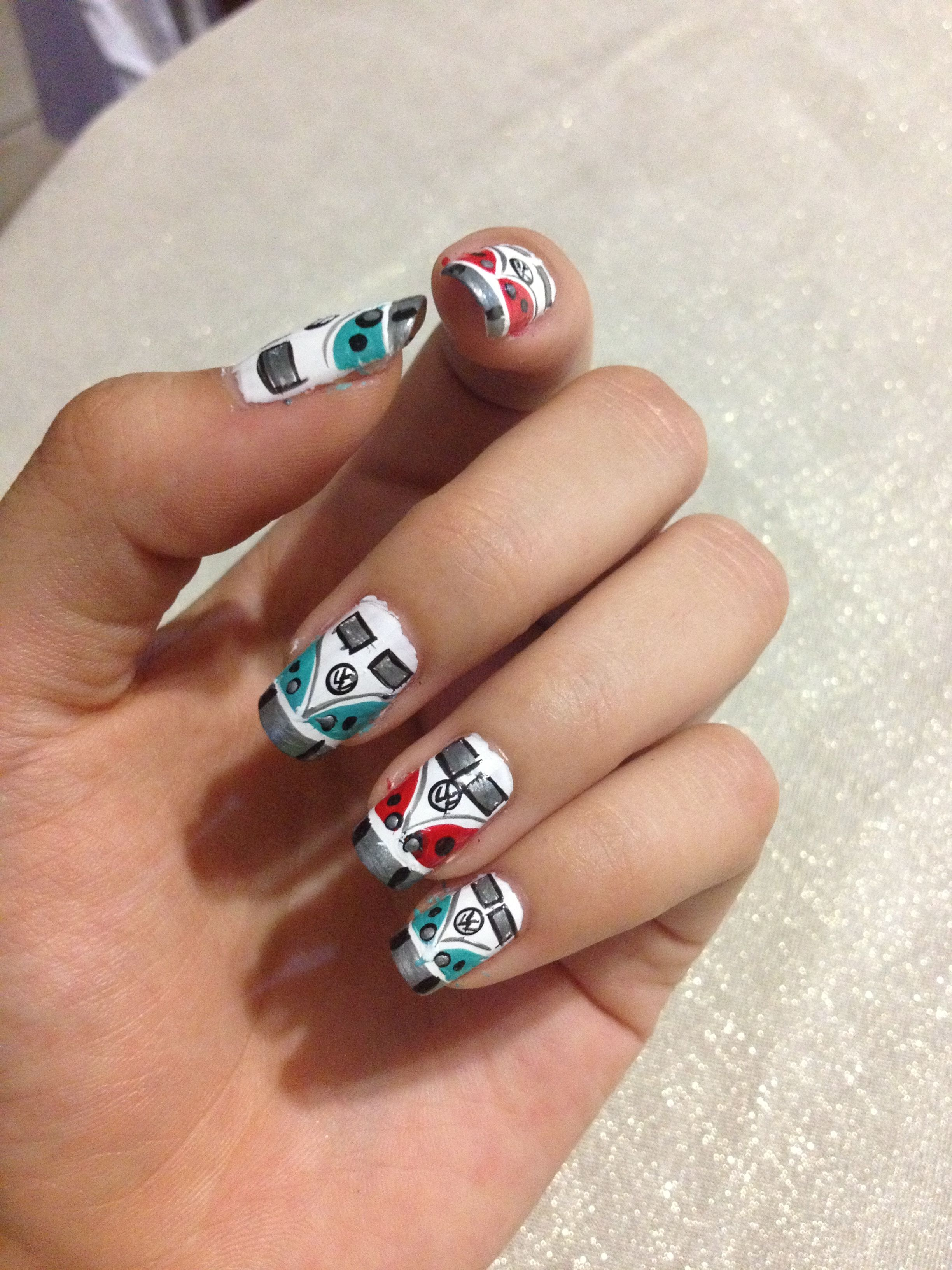 VW Combi Nails - Nails <3 | Pinterest - Knutselen