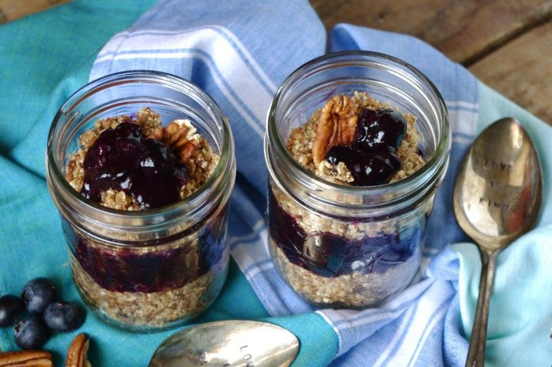 No-Bake Layered Pecan Blueberry Cobbler (Gluten Free & Vegan!) via Nutritionist in the Kitch