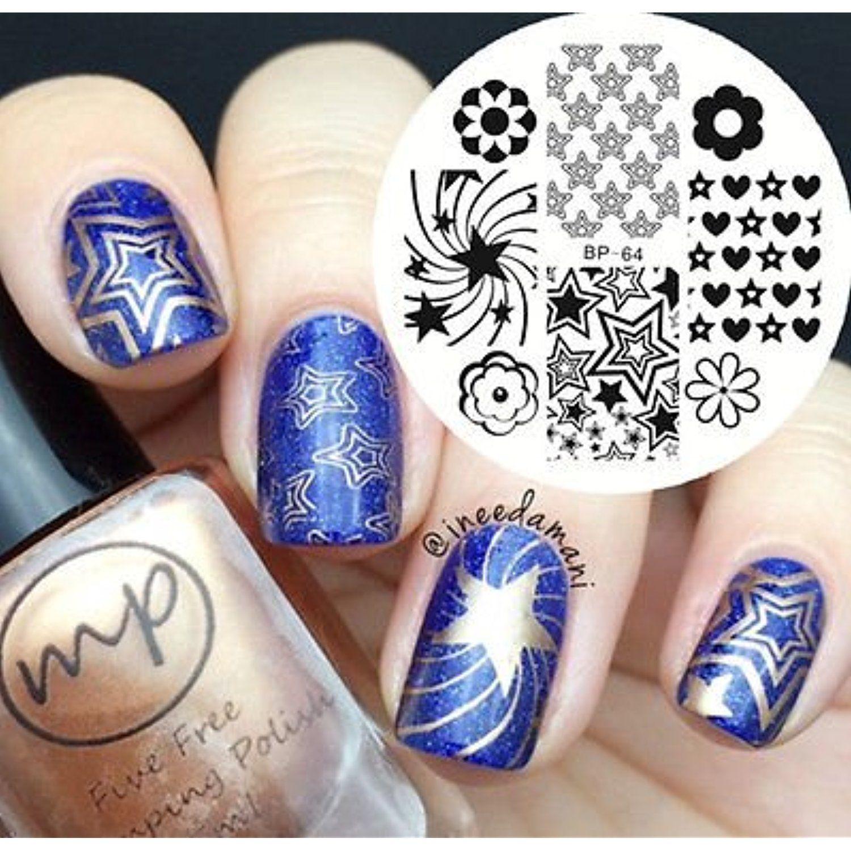 Nail Art DIY Stamp Stamping Image Metal Plate Stars - FashionDancing ...