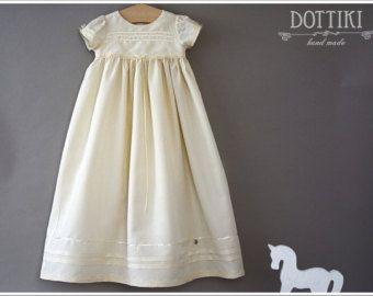 Christening Silk Gown Baptism Dress Baptism Gown Baby por DOTTIKI