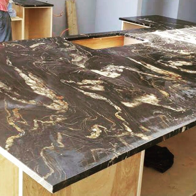 Lava Flow Granite Countertop Island In West Vancouver Home