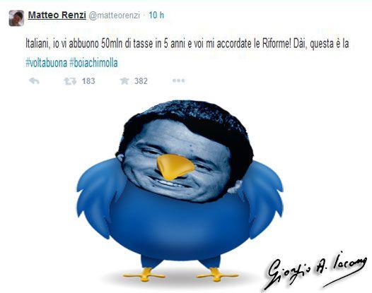 Renzi: Un colpo di twitter da 50mln di euri