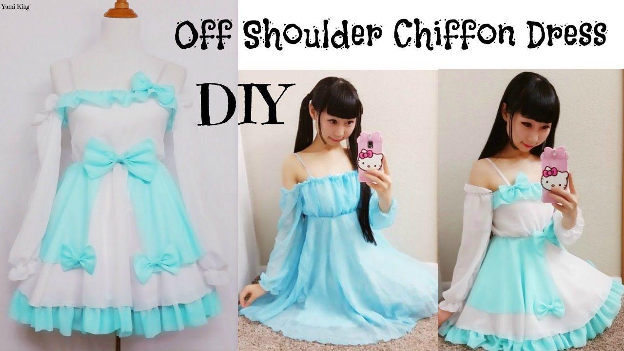 587c1b9e24 DIY Easy Long Sleeve Off-Shoulder Chiffon Dress from Scratch