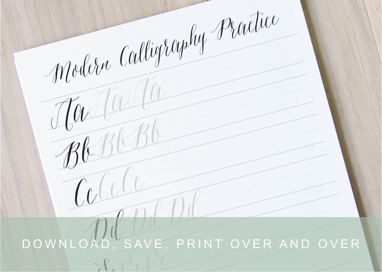 42 Printable Modern Calligraphy Practice Sheets Free
