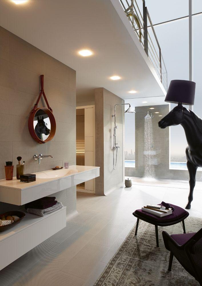 Badkamer in loft - douche Axor Front via hansgrohe | Bathroom / 浴室 ...