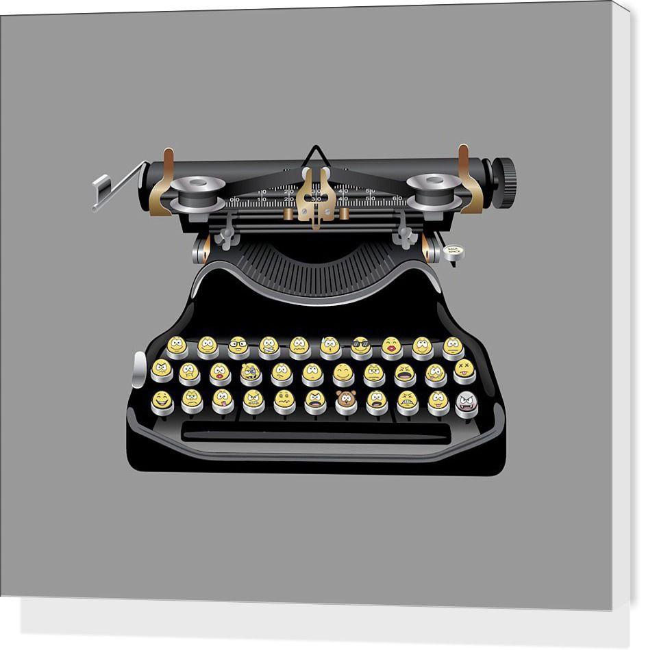 Emoji Typewriter Stretched Canvases By Emoji Nuvango Stretch Canvas Typewriter Emoji