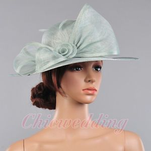 d06a207d Elegant Church Kentucky Derby Hat Wedding Sinamay Wide Brim Mint Green  Dress Hat   eBay