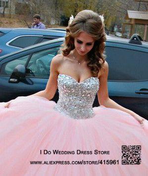 307e05f0d Vestido de Debutante rosa Strapless doce 16 Vestidos Quinceanera Vestido de  baile cristais andar de comprimento Vestidos de 15 anos E6495