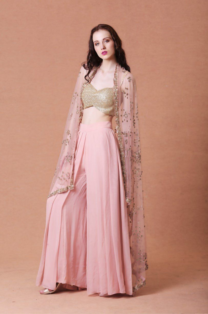 Blush embellished cape with pants marriage pinterest cape