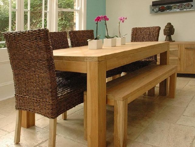 Solidwooddiningroomtablewithbench 642×482  Things To Pleasing Wooden Bench For Dining Room Table Design Ideas