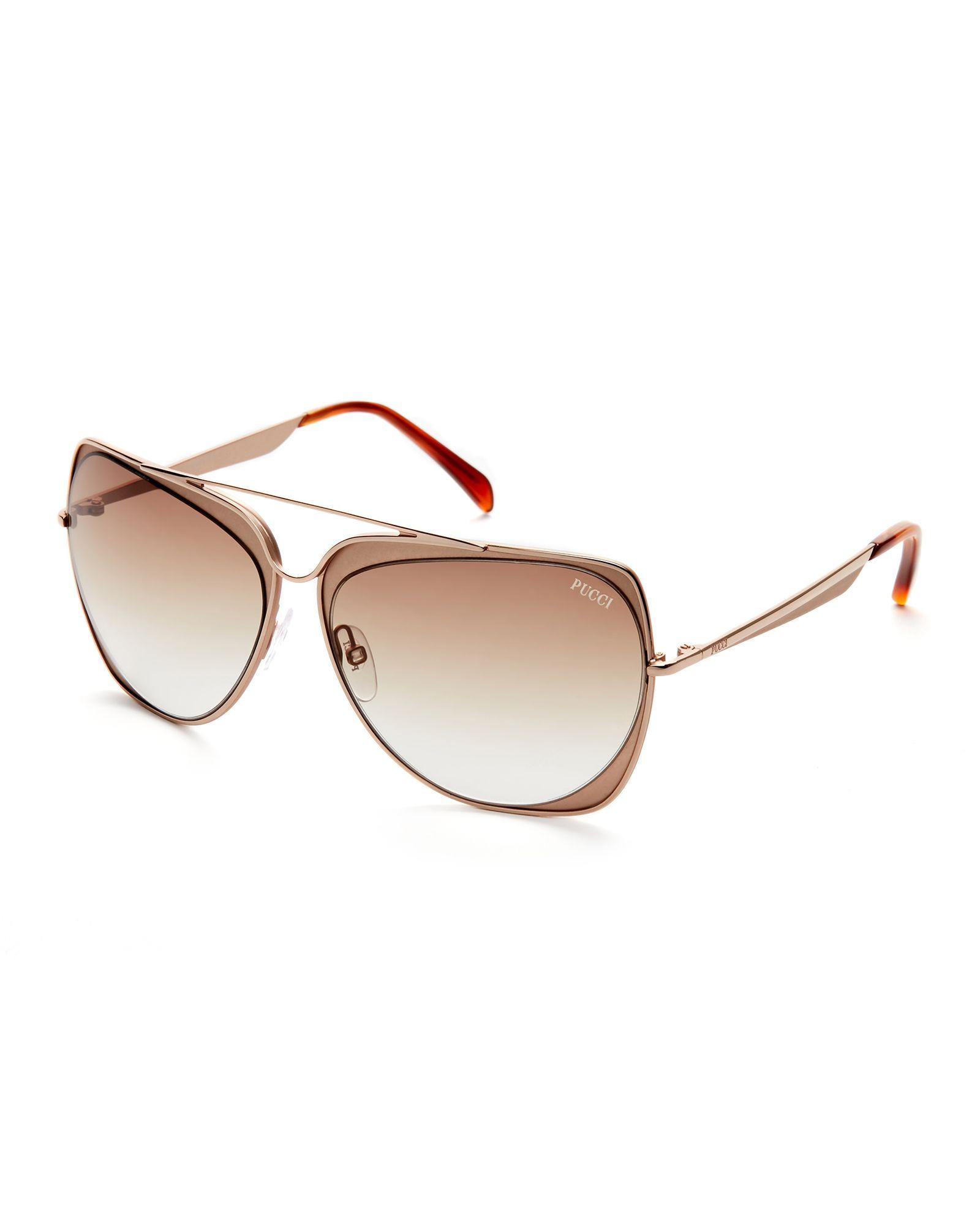 f637bbc79d Emilio Pucci Rose Gold-Tone EP0004 Square Sunglasses