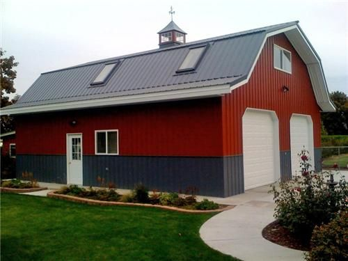 Large classic gambrel barn style garage class metal for Gambrel barn plans with living quarters
