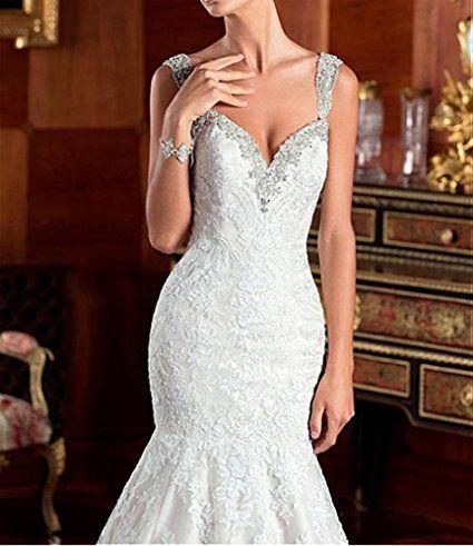 Dressylady Women\'s Mermaid Wedding Dress Beading Straps Applique ...