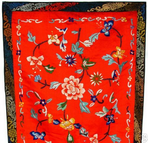 Antique Chinese Embroidered Silk Panel - 1800's