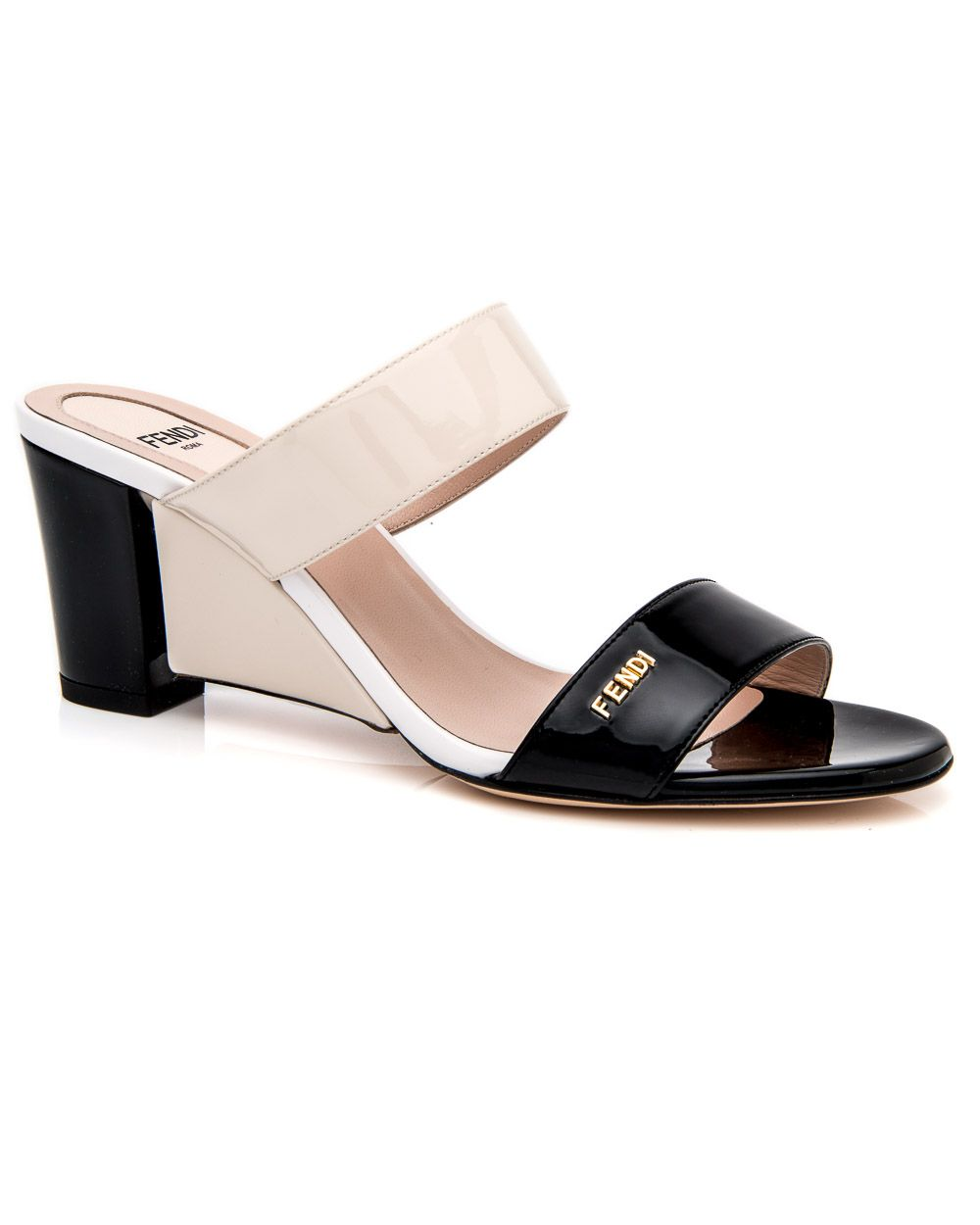 5634dd0d531fd9 Fendi Black and Milk with White Patent Sandal Patent leather upper Tonal  stitching Double strap slip-on sandal Leather lining