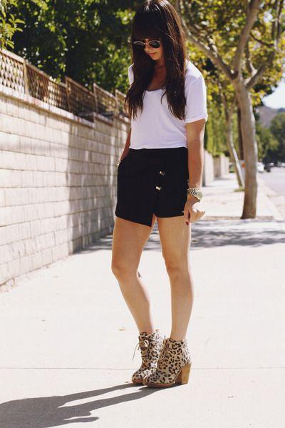 Camel leopard boots black asymmetrical shorts white t