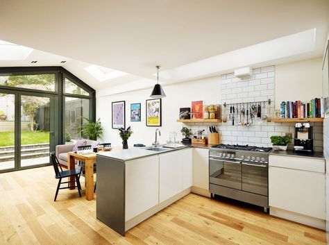 Creating A Large Family Home With An Open Plan Kitchen Extension And Loft Conversion Kitchen Extension Kitchen Dining Room Industrial Style Kitchen