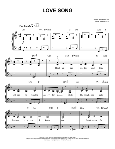 Love Song Piano Music For Students Pinterest Sara Bareilles