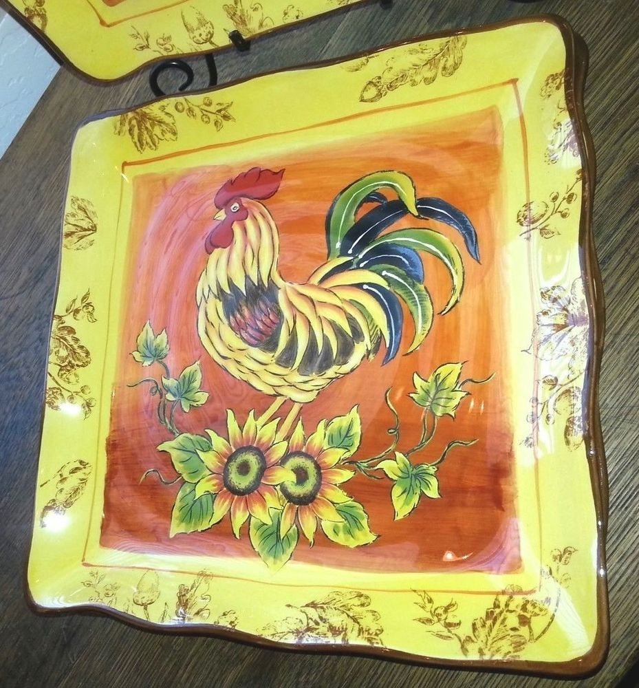 Maxcera ORANGE ROOSTER Square Dinner Plate Harvest Sunflower French Country #MaxceraCorp