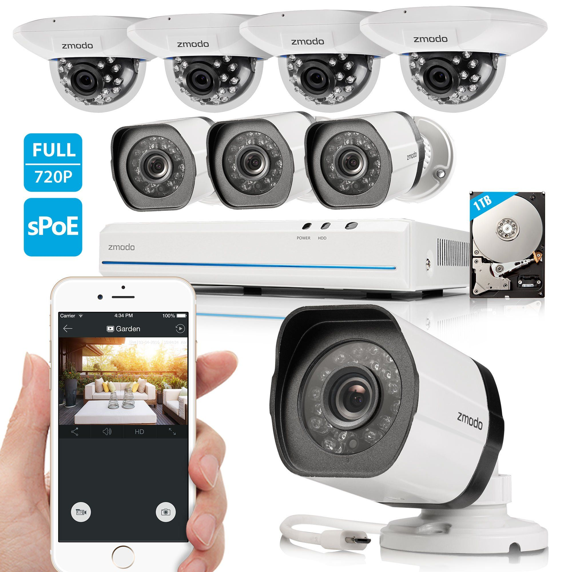Zmodo 8CH 720P HD Network Security Camera System with 4x Outdoor + ...