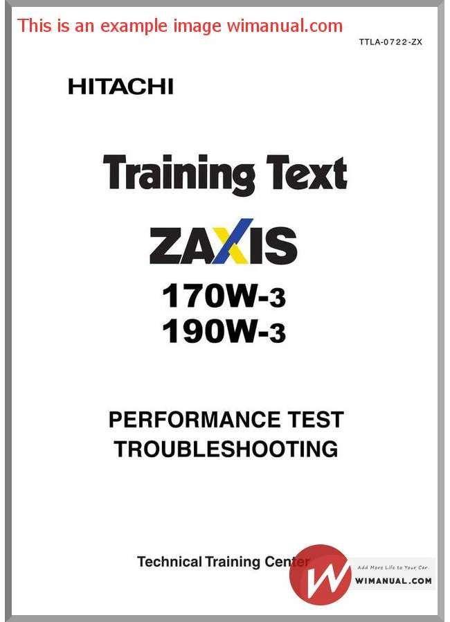 Hitachi Zaxis 170w 190w 3 Training Text Performance Test