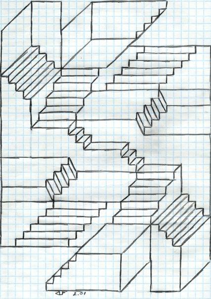 Escher Stairs by veraukoion on DeviantArt Graph paper