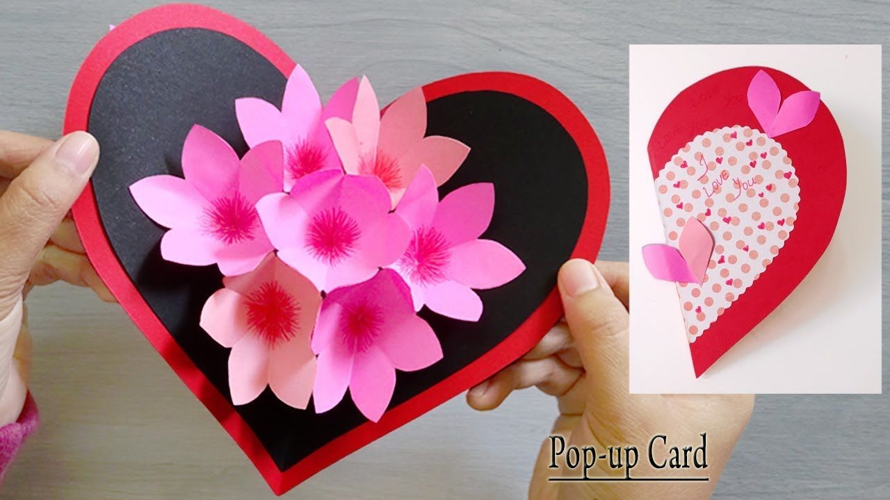 Stunning Pop Up Card With Clear Youtube Video Showing How In Meticulous Steps Many Step Valentine Crafts Hearts Paper Crafts Diy Valentine S Day Pop Up Cards