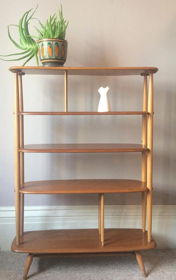 Mid Century Ercol Shelfing Unit A Blonde Freestanding Bookcase Room Divider Shelves