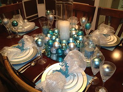 A Look At Our Dining Table Christmas Decor Silver Aqua Blue And White Classic Christmas With Aqua Christmas Christmas Tablescapes Blue Christmas Decor
