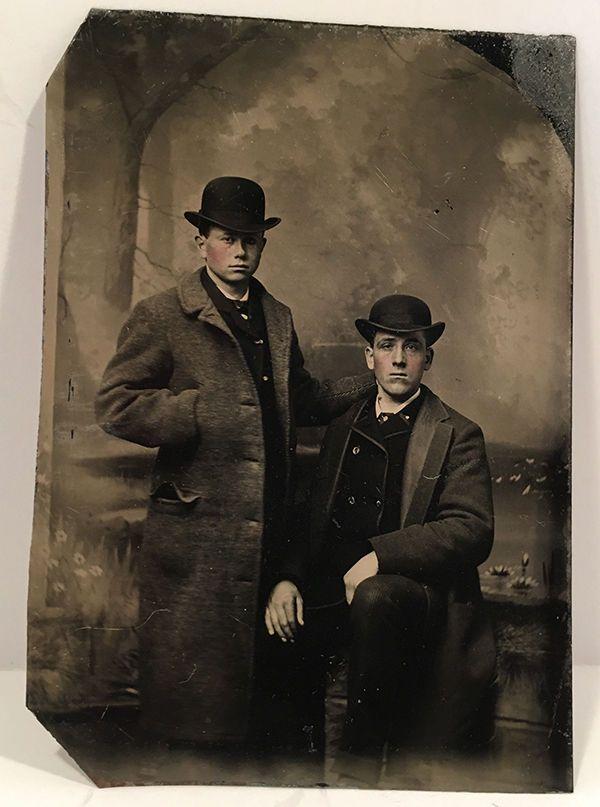 Antique Tinted Tintype Photo Portrait TWO Handsome MEN Vintage Photo | eBay