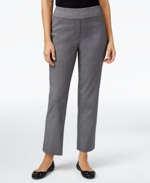 Alfred Dunner Petite Theater District Straight-Leg Pants - Gray 12P