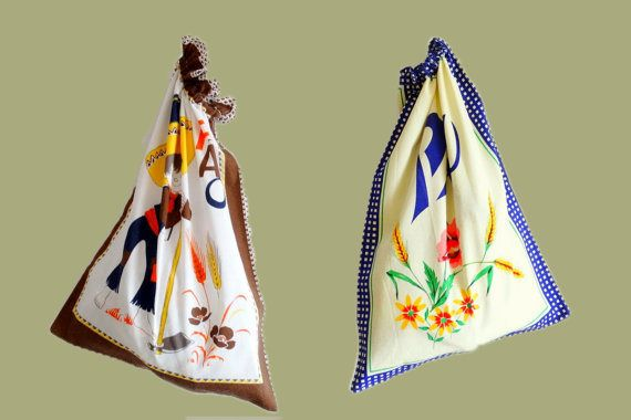 Two cotton bread bags vintage drawstring kitchen bags canvas