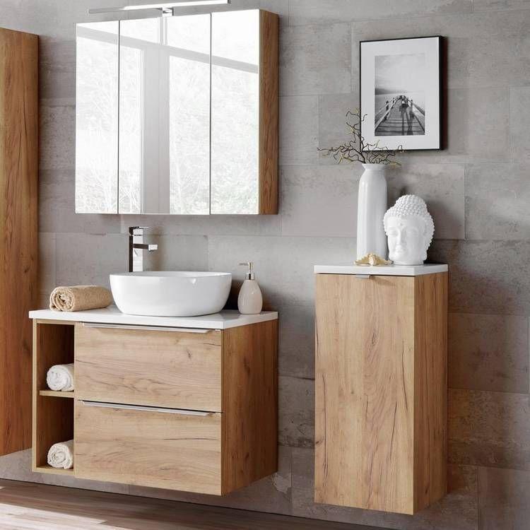 Badezimmer Badmobel Set Mit Keramik Aufsatzwaschbecken Toskana 56 Wotaneiche Hochglanz Weiss Bxhxt Ca 135 1 In 2020 Rustic Bathroom Shower Lounge Interiors Diy Shower