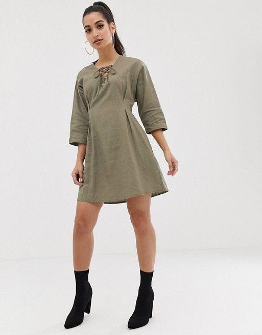 2171f31b23c DESIGN Petite lace up mini dress in linen in 2019