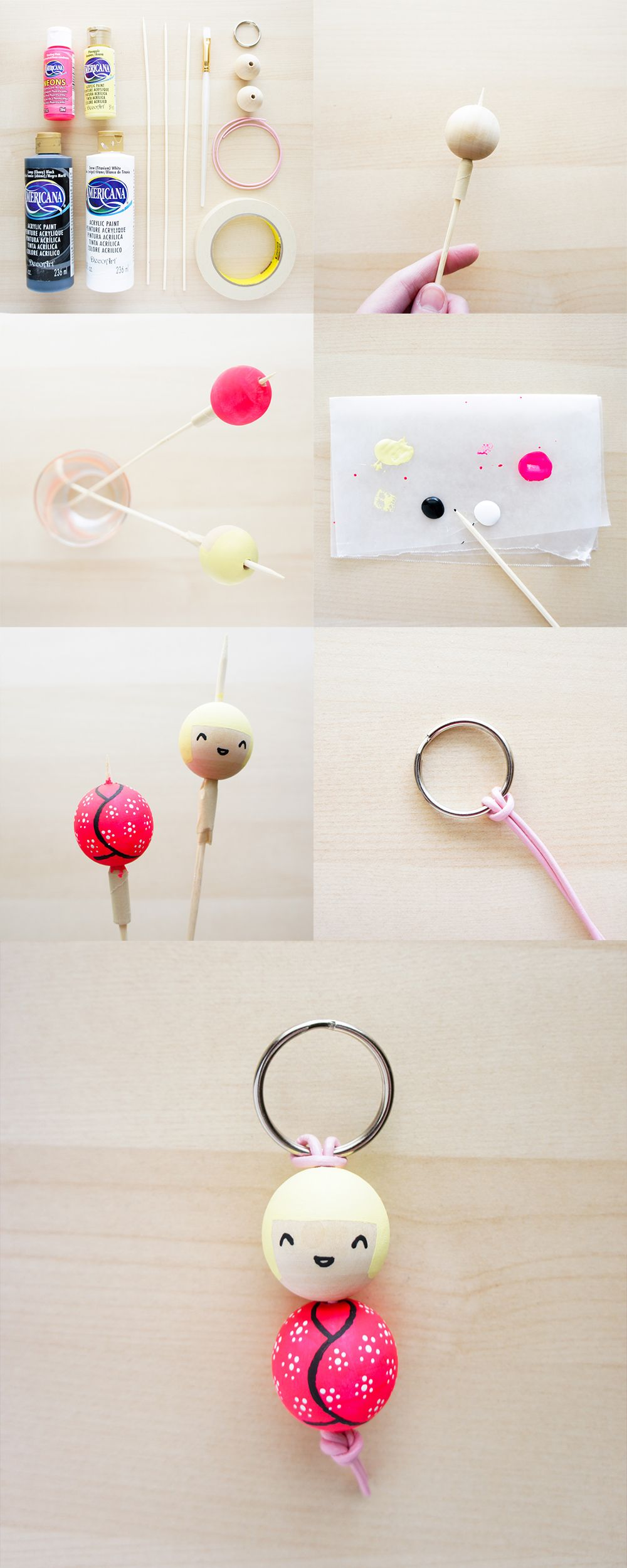 Dy Painted Bead Key Chain Via The Pink Samurai Craft Diy