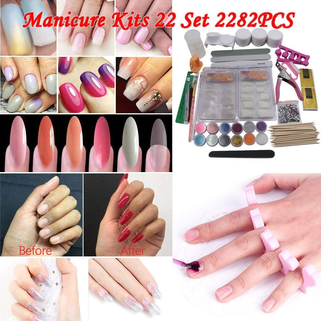 Acrylic Nail Kits 22pcs Acrylic Powder Liquid Brush Glitter Clipper Primer File Nail Art Tools Kit Deco In 2020 Powder Glitter Nails Nail Art Tool Kit Glitter Nail Art