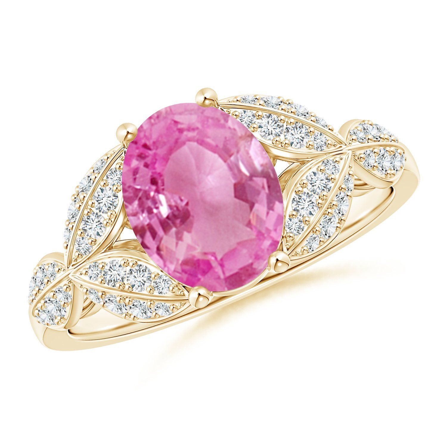 Pink Sapphire and Diamond Trillium Petal Flower Ring (9x7mm Pink ...