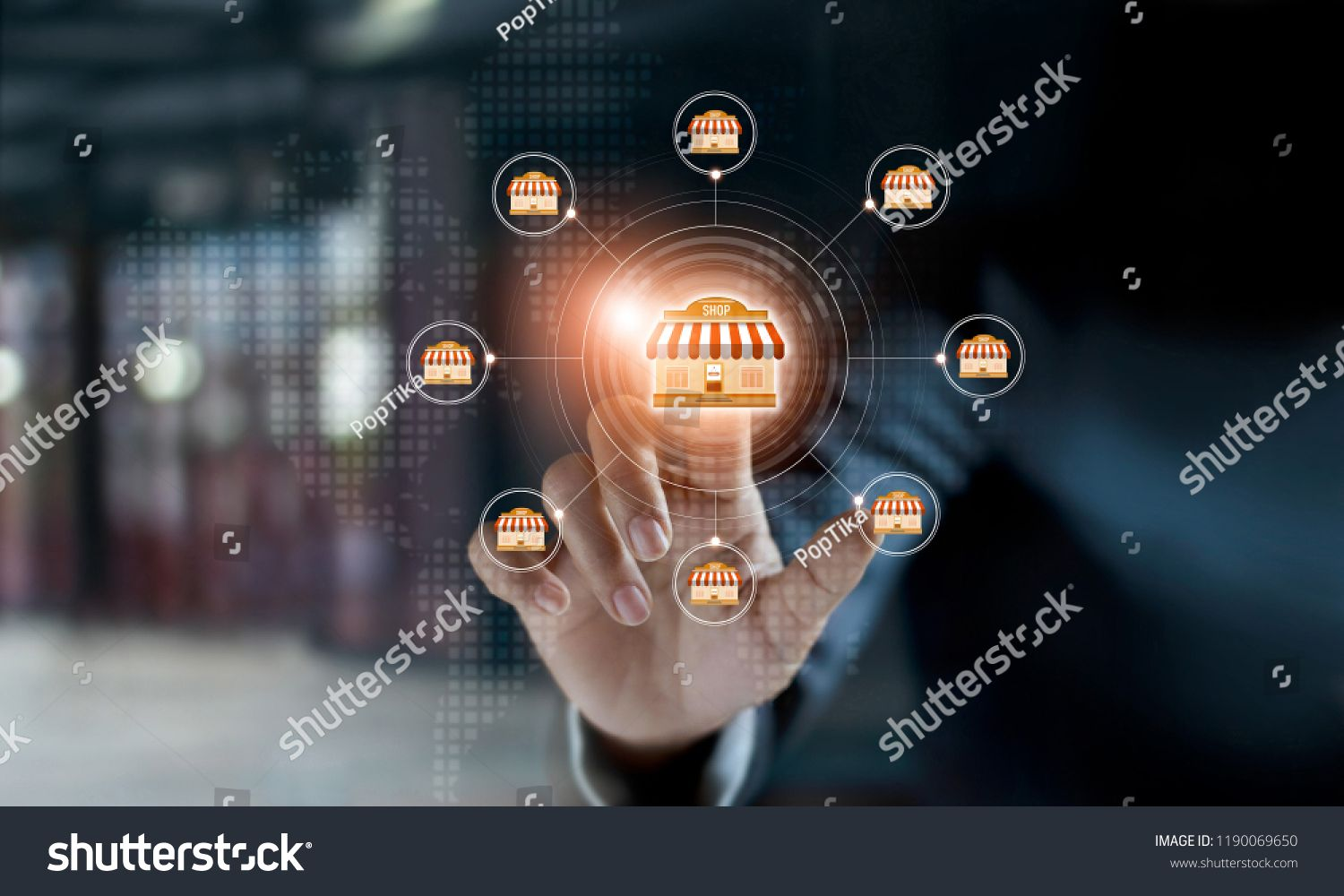 Businessman Hand Touching Icon Global Network Connection On Franchise Marketing System Branch Of Market Franchise Marketing Businessman Hand Marketing System