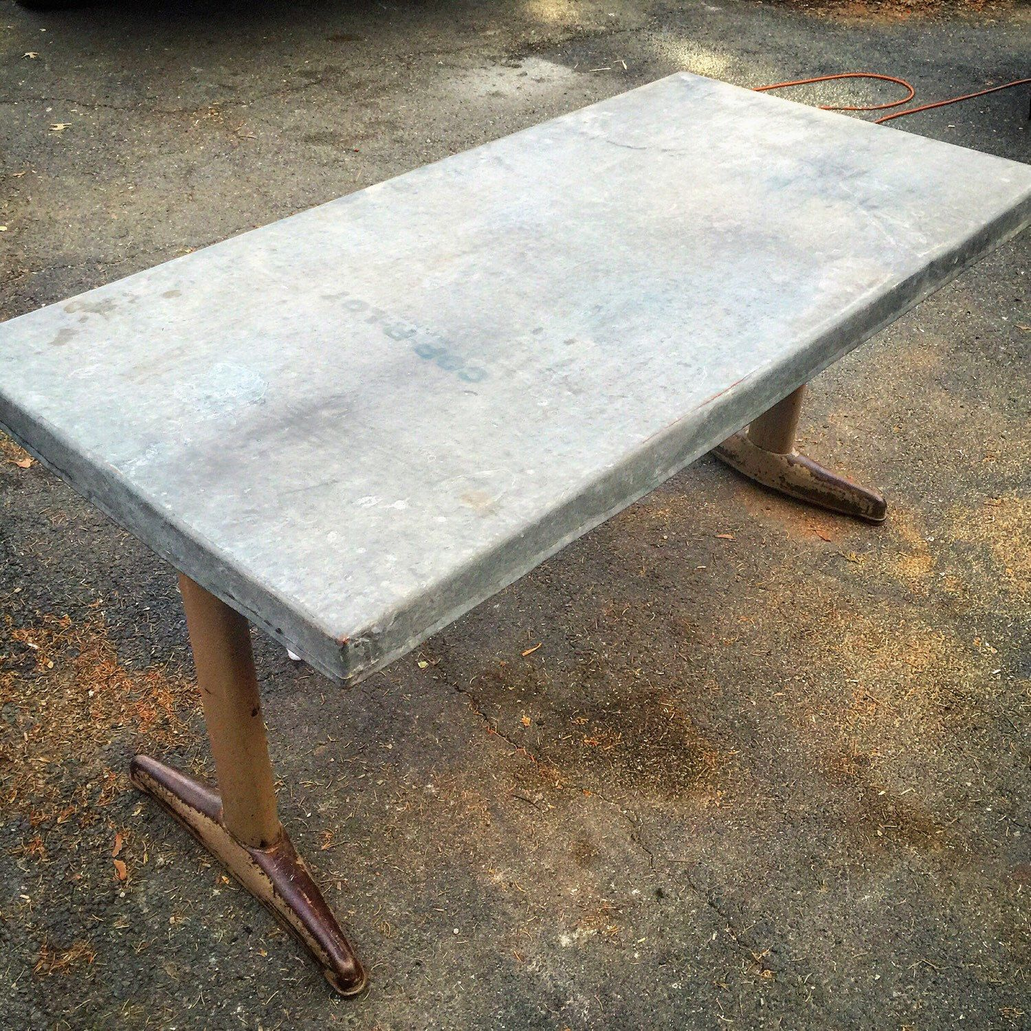 Reserved For T Zinc Top Table Desk Steel Base 60 X 30