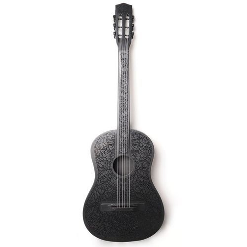 Beautiful Black Acoustic Guitar With Flower Design Guitar Design Black Acoustic Guitar Guitar